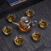 kung fu çay setleri toptan satış-Isı Dayanıklı Cam Çay Seti Bitkisel Çaylar Filtre Demlemek Kalınlaşma Cam Kung Fu Fincan Eko Dostu Demlik Çay Fincanı 13 9 mx gg