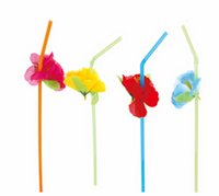 Wholesale cocktail drinks decoration - 36pcs  Lot 3d Party Straw Multicolor Flower Plastic Straw Cocktail Drinking Straw Hawaiian Party Decoration Party Favor Supplies
