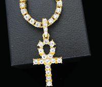ingrosso 14k collana egiziano oro-Nuovo arrivo egiziano Ankh Key Of Life ciondolo collana color SilverSilver con Bling strass moda vintage gioielli hip hop