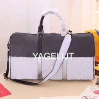 Wholesale leather gym bag duffle - Top quality AAAAA 45CM REGATTA KEEPALL VOYAGER Genuine Leather mens travel bag weekend duffle bag luxury brand Carry On GYM bag luggage