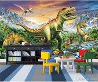 papel pintado de los niños al por mayor-Papel tapiz 3d foto personalizada Bosque Tyrannosaurus Jurassic Dinosaur World Children's Room Murales de pared 3d papel tapiz para paredes 3 d living