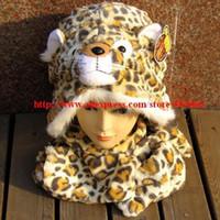 conjuntos de bufanda de invierno de piel sintética al por mayor-Faux Fur Fashion Animal Hood Unisex Winter Husky Hat Oreja larga Prestaciones de rendimiento Cartoon Hat Free bufanda, Conjuntos de guantes