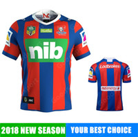 Wholesale hot club clothes online - 2018 New Castle Knights NEW club AIG Supper Rugby Jersey All Black Rugby Shirt Teams Rugby Clothes Hot Sale SPORT