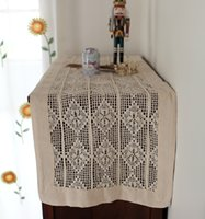 Wholesale Cotton Square Crochet Tablecloth - American Pastoral Crochet out Table runner cabinet retro vintage Beige hollow out square tablecloth table cover cabinets towels