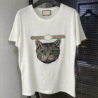 Wholesale Womens Collared Shirts - 2018 new Summer fashion T-Shirts Harajuku mens and womens round collar couples Brand cat head short sleeve T-shirt
