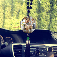 Wholesale personalized ornaments - Personalized Photo DIY Car Decoration Ornaments Customized Pictures Image Crystal Pendant With Tassel Automobile Car Accessories