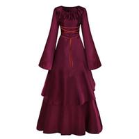 victorian partisi toptan satış-Siyah Ve Kırmızı Marie Antoinette Elbise Gotik Victorian Elbise Parti Balo Vampir Tiyatro Rönesans Rokoko Elbiseler