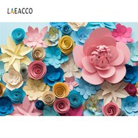 Wholesale photo paper canvas - Laeacco Colorful Paper Flowers Wall Baby Newborn Photography Backgrounds Customized Photographic Backdrops For Photo Studio