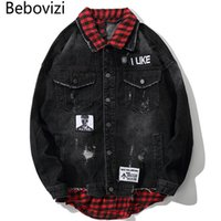 джинсы мужские шотландские оптовых-Bebovizi  2018 Men Hip Hop Streetwear Red Plaid Patchwork Jeans Jackets Hip Hop Casual Black Male Denim Jacket and Coats