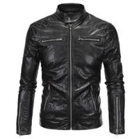 chaqueta con cremallera de piel sintética al por mayor-Moda Punk Style Jacket Zip Slim Fit Chaqueta de motorista de cuero sintético Hombre Invierno Negro Motorcycle Leather Men