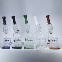 Wholesale microscope pipe resale online - Microscope Glass Water Pipes quot inches Beaker Bong with Rocket to UFO Perc Double Recycler Dab Oil Rigs Thick Bubbler Hookahs Pipes