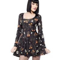 beige maxi kleider ärmel großhandel-Halloween-Frauen-Blumendruck-langes Hülsen-Kleid-Kleid-europäische und amerikanische Vampires Partei-langes Maxi Kleid Sundress