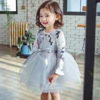 kızlar için uzun kabarık elbiseler toptan satış-Kızlar Çiçek Baskılı Elbise Yay Yuvarlak Boyun Uzun Kollu Yay Çiçek TUTU Elbise Parti Kabarık İplik Prenses Etek 2-6 T