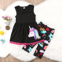 Wholesale fancy kids clothing - 2018 Unicorn Kids Baby Girls Outfits Clothes Vest Top+Long Pants 2PCS Set tassels colorful fancy kid clothing set