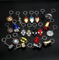 Wholesale spider keychain online - Marvel The Avengers Keychains America Captain Shield Keychain Superhero Thor Hammer Thanos Spider Man Key Ring Jewelry AAA1227