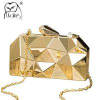 Wholesale Metallic Gold Clutch Purse - UKQLING Brand Metallic Evening Bags Lady Clutch Purse Party Bag Minaudiere Handbag with Long Chain Women Bag Phone Gold Silver