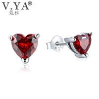 Wholesale real garnet - Trendy White 100% Real 925 Sterling Silver Earrings for Women Jewelry Cubic Zirconia Luxury Garnet Heart Stud Earring CE111