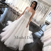 Wholesale china skirt zipper resale online - A Line Wedding Dresses Sweetheart Strapless Lace Appliques Sequins Tulle Floor Sweep Train Modest Bridal Gowns Custom Made in China