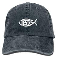 ingrosso cappelli di gesù-Berretto da baseball dei jeans regolabili dei retro dei jeans di Jesus Christian Fish Wash per l'adulto Multi-colore facoltativo