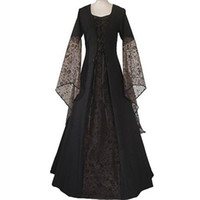 Wholesale gothic renaissance dresses - Renaissance Medieval Maxi Dress Women Vintage Floor Length Gown Gothic Dress Lolita Lace Flare Sleeve Retro Victorian