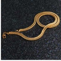 gold knochen link kette großhandel-HIP Hop 20 Zoll 6 MM Snake Bone Kette Gold Gefüllt Edelstahl Doppel Curb Cuban Link Kette Halsketten