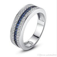 ingrosso anelli di diamanti blu per le donne-Trasporto di goccia impilabile nuovissimo gioielli di lusso argento 925 riempire 3 file blu zaffiro diamante della CZ anello di fidanzamento di nozze per le donne regalo