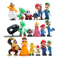 Wholesale Mario Dolls Toys - 18 PCS Super Mario Vario Yoshi Figures Vinyl Dolls Model PVC Toys Dolls Mario Luigi Wholesale New Game Anime Movie