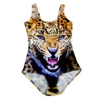 tigre amarillo al por mayor-Europa Rusia Japón Australia Brasil Mujeres Sexy Monos Playa Leotardo Tiger Leopard Amarillo 3D Impresión Sassy Girl Teddy Skinny Swimwear