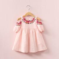 Wholesale Hot Pink Elegant Dresses - 2018 INS hot selling summer girl kids off shoulder dress kids round collar sleeveless back hollow out elegant dress