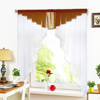 Wholesale home design colors - 11 Colors Fashion Pleated Roman Curtain Design Stitching Colors Tulle Balcony Kitchen Window Curtain Blind 1pc Home Curtain