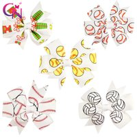 Wholesale Grossgrain Ribbon Clips - 30 Pcs Lot 3'' Fashion Baseball Hair Bow with Hair Clip for Kids Girls Small Softball Printed Grossgrain Ribbon Bow Hair Accessories