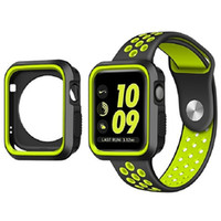 watchbands apple achat en gros de-Bracelet en silicone pour Apple Watch 38mm 42mm Strap Band Coque de protection pour iWatch 1 2 3 Series Sports Band avec Hole Loops