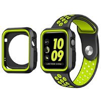 bandas protectoras de reloj de manzana al por mayor-Reloj de pulsera de silicona para Apple Watch 38mm 42mm correa de banda Caja protectora para iWatch 1 2 3 Serie de banda deportiva con orificios Loops