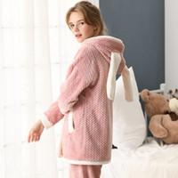 franela de maternidad al por mayor-Ropa de dormir de maternidad para la enfermería coreano otoño invierno engrosado de franela cardigan ropa de lactancia traje de pijamas embarazadas A305