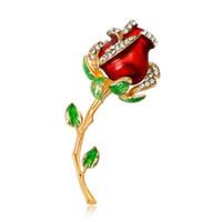 alfiler rosa rojo al por mayor-Lujo Rojo Azul Rosa Pin Broche Diseñador Broches Insignia Esmalte de Metal Pin Broche Mujeres Joyería de Lujo Decoración Del Banquete de boda