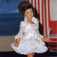 weißes glitzfestes kleid groihandel-Kleine Mädchen Kleider 3/4 Ärmel Perlen Crystal Strass Rüschen kurze Blumenmädchen Kleid 2019 White Glitz Pageant Dress
