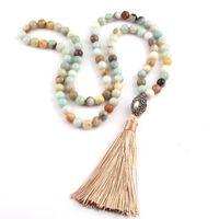 kolye modası kabile toptan satış-Ücretsiz Kargo Moda Amazonit Taşlar Bohemian Tribal Takı Oval İnci Kristal Top Püskül Kolye