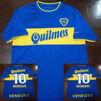 camisetas de futbol uniformes argentina al por mayor-2000 Boca romana Palermo Soccer Jersey retro Argentina 1999 Camiseta Maillot De Pie camisas del fútbol uniforma 2000 Camiseta de Futbol