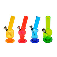 shisha new design 2021 - New Min 150mm Various Frosted Slim Acrylic Bong Twist Bubble Water Pipe All Designs Hookah Shisha Smoking Metal Pipe Glass Bong Bubblers