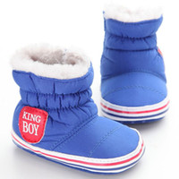 обувь для младенцев оптовых-Winter Warm Snow Boots Toddler Warm Shoes Baby  Coon Fabric Boots First Walker 0-18M Baby Shoes