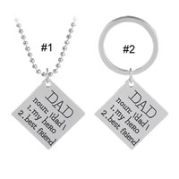 Wholesale wholesale dad gifts - 2018 DAD My Hero Best Friend Necklace Key chain Letter Pendant Rings Family Love Fashion Jewelry Gift for Women Men 162592