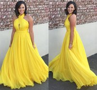 Wholesale Bright Green Dresses - Bright yellow chiffon long prom dresses 2018 halter keyhole open back sexy cocktail party dresses evening gowns
