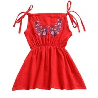 Wholesale girls harnesses resale online - Kids Baby Girls Dress Shoulder Strap Beach Dress For Girls Red Flower Embroidery Harness Dress Toddler Summer Clothes