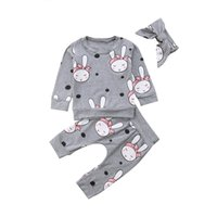 ingrosso manicotto lungo del coniglio del vestito-2018 Infant Newborn Baby Girl Rabbit Top T-shirt + Pants + Fascia abiti 3Pcs Outfits Set manica lunga Warm Cotton Soft Clothing