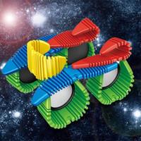 metal yapı taşları toptan satış-Çocuk Erken Çocukluk Esnek Manyetik Blokları Sac Inşaat Kiti Mix Renkli Metal Yapı Istihbarat Oyuncaklar Bilmecenin 28xt W