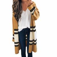 minimalistischer langer mantel großhandel-Bürodame Schnitt und Nähen Mantel Frauen Langarm minimalistischen 2018 Herbst Oberbekleidung Kleidung gestrickte Strickjacke Mäntel #EP
