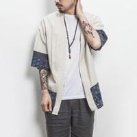 kimono ceketler artı boyutu toptan satış-Drop Shipping Pamuk Keten Gömlek Ceketler Erkekler Çin Streetwear Kimono Gömlek Ceket Erkekler Keten Hırka Ceketler Ceket Artı Boyutu 5XL