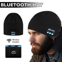 fones de ouvido de feijão venda por atacado-Bluetooth Hat Música Beanie Cap Bluetooth V4.1 Estéreo Sem Fio Fone De Ouvido Fone De Ouvido Microfone Handsfree Para Iphone 8 Com Pacote