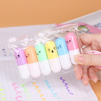 6pcs Lot Cute Mini Smile Face Highlighter Cartoon Painting Pen Marker Student Learning Stationery Free Shipping