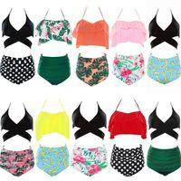 Wholesale swimwear swimming surf online - Women Floral Swimsuits High Waist Bikini Sets Ruffles Pieces Swimwear For Women Summer Swim Surfing Clothes OOA5418